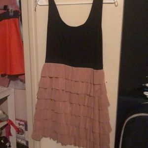 Black and peach frill dress